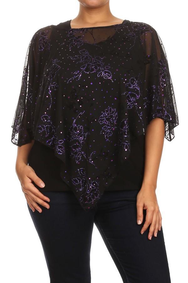 Flutter Sleeve Top - Black & Purple 7068
